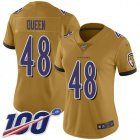 Cheap Nike Ravens #48 Patrick Queen Gold Women's Stitched NFL Limited Inverted Legend 100th Season Jersey