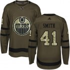 Cheap Adidas Oilers #41 Mike Smith Green Salute to Service Stitched Youth NHL Jersey