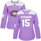 Cheap Adidas Canadiens #15 Jesperi Kotkaniemi Purple Authentic Fights Cancer Women's Stitched NHL Jersey