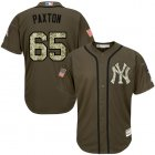 Cheap Yankees #65 James Paxton Green Salute to Service Stitched Youth MLB Jersey
