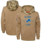 Cheap Youth Detroit Lions Nike Khaki 2019 Salute to Service Therma Pullover Hoodie