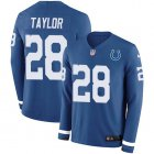 Cheap Nike Colts #28 Jonathan Taylor Royal Blue Team Color Youth Stitched NFL Limited Therma Long Sleeve Jersey
