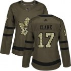 Cheap Adidas Maple Leafs #17 Wendel Clark Green Salute to Service Women's Stitched NHL Jersey