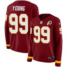 Cheap Nike Redskins #99 Chase Young Burgundy Red Team Color Women's Stitched NFL Limited Therma Long Sleeve Jersey