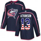Cheap Adidas Blue Jackets #13 Cam Atkinson Navy Blue Home Authentic USA Flag Stitched Youth NHL Jersey
