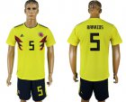 Cheap Colombia #5 W.Barrios Home Soccer Country Jersey