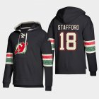Cheap New Jersey Devils #18 Drew Stafford Black adidas Lace-Up Pullover Hoodie