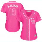 Cheap Rockies #19 Charlie Blackmon Pink Fashion Women's Stitched MLB Jersey