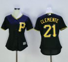 Cheap Pirates #21 Roberto Clemente Black Women's Alternate Stitched MLB Jersey