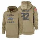 Cheap Seattle Seahawks #32 Chris Carson Nike Tan 2019 Salute To Service Name & Number Sideline Therma Pullover Hoodie