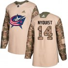 Cheap Adidas Blue Jackets #14 Gustav Nyquist Camo Authentic 2017 Veterans Day Stitched Youth NHL Jersey
