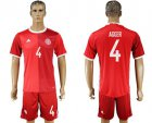 Cheap Danmark #4 Agger Red Home Soccer Country Jersey