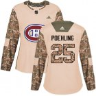 Cheap Adidas Canadiens #25 Ryan Poehling Camo Authentic 2017 Veterans Day Women's Stitched NHL Jersey