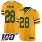 Cheap Nike Packers #28 AJ Dillon Gold Youth Stitched NFL Limited Inverted Legend 100th Season Jersey