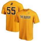 Cheap Pittsburgh Pirates #55 Josh Bell JB Majestic 2019 MLB Little League Classic Name & Number T-Shirt Gold