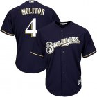 Cheap Brewers #4 Paul Molitor Navy blue Cool Base Stitched Youth MLB Jersey