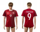Cheap Danmark #9 Tomasson Red Home Soccer Country Jersey