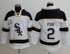 Cheap White Sox #2 Nellie Fox White Sawyer Hooded Sweatshirt MLB Hoodie