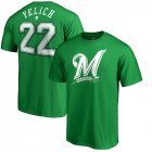 Cheap Milwaukee Brewers #22 Christian Yelich Majestic St. Patrick's Day Stack Player Name & Number T-Shirt Kelly Green