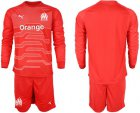 Cheap Marseille Blank Red Goalkeeper Long Sleeves Soccer Club Jersey