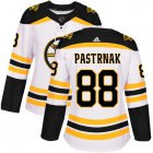 Cheap Adidas Bruins #88 David Pastrnak White Road Authentic Women's Stitched NHL Jersey