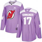 Cheap Adidas Devils #17 Wayne Simmonds Purple Authentic Fights Cancer Stitched NHL Jersey