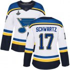 Cheap Adidas Blues #17 Jaden Schwartz White Road Authentic Stanley Cup Champions Women's Stitched NHL Jersey