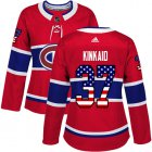 Cheap Adidas Canadiens #37 Keith Kinkaid Red Home Authentic USA Flag Women's Stitched NHL Jersey