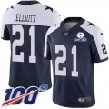 Cheap Nike Cowboys #21 Ezekiel Elliott Navy Blue Thanksgiving Men's Stitched With Established In 1960 Patch NFL 100th Season Vapor Untouchable Limited Throwback Jersey