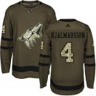 Cheap Adidas Coyotes #4 Niklas Hjalmarsson Green Salute to Service Stitched Youth NHL Jersey