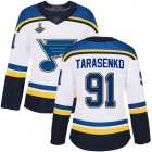 Cheap Adidas Blues #91 Vladimir Tarasenko White Road Authentic Stanley Cup Champions Women's Stitched NHL Jersey