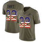 Cheap Nike Lions #32 D'Andre Swift Olive/USA Flag Youth Stitched NFL Limited 2017 Salute To Service Jersey