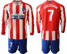 Cheap Atletico Madrid #7 Griezmann Home Long Sleeves Soccer Club Jersey