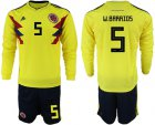 Cheap Colombia #5 W.Barrios Home Long Sleeves Soccer Country Jersey