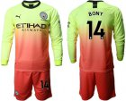 Cheap Manchester City #14 Bony Third Long Sleeves Soccer Club Jersey