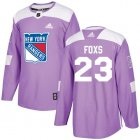 Cheap Adidas Rangers #23 Adam Foxs Purple Authentic Fights Cancer Stitched NHL Jersey