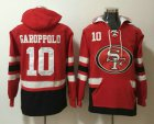 Cheap Men's San Francisco 49ers #10 Jimmy Garoppolo NEW Red Pocket Stitched NFL Pullover Hoodie