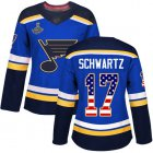 Cheap Adidas Blues #17 Jaden Schwartz Blue Home Authentic USA Flag Stanley Cup Champions Women's Stitched NHL Jersey