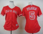 Cheap Angels #5 Albert Pujols Red Alternate Women's Stitched MLB Jersey