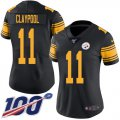 Cheap Nike Steelers #11 Chase Claypool Black Women's Stitched NFL Limited Rush 100th Season Jersey