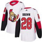 Cheap Adidas Senators #28 Connor Brown White Road Authentic Stitched NHL Jersey