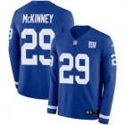 Cheap Nike Giants #29 Xavier McKinney Royal Blue Team Color Youth Stitched NFL Limited Therma Long Sleeve Jersey