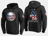 Cheap Sabres #41 Justin Falk NHL Banner Wave Usa Flag Black Hoodie