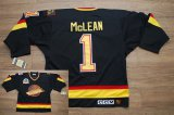 Cheap Canucks #1 Kirk Mclean Stitched Black CCM Throwback Vintage NHL Jersey