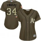 Cheap Athletics #34 Rollie Fingers Green Salute to Service Women's Stitched MLB Jersey