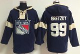 Cheap New York Rangers #99 Wayne Gretzky Navy Blue Pullover NHL Hoodie