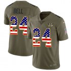 Cheap Nike Bengals #24 Vonn Bell Olive/USA Flag Youth Stitched NFL Limited 2017 Salute To Service Jersey