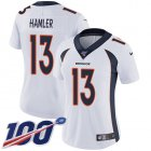 Cheap Nike Broncos #13 KJ Hamler White Women's Stitched NFL 100th Season Vapor Untouchable Limited Jersey