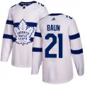 Cheap Adidas Maple Leafs #21 Bobby Baun White Authentic 2018 Stadium Series Stitched NHL Jersey