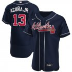 Cheap Atlanta Braves #13 Ronald Acuna Jr. Men's Nike Navy Alternate 2020 Authentic Player MLB Jersey